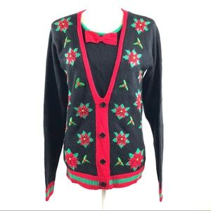 Jolly Sweaters Poinsettia Ugly Christmas Sweater